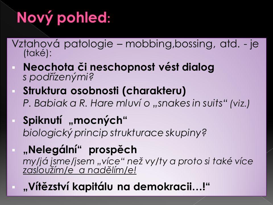 Nový pohled: Vztahová patologie – mobbing,bossing, atd. - je (také):