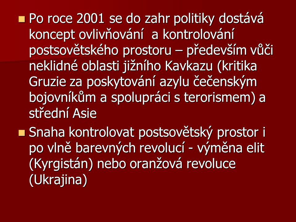 Po roce 2001 se do zahr politiky dostává koncept ovlivňování a kontrolování postsovětského prostoru – především vůči neklidné oblasti jižního Kavkazu (kritika Gruzie za poskytování azylu čečenským bojovníkům a spolupráci s terorismem) a střední Asie