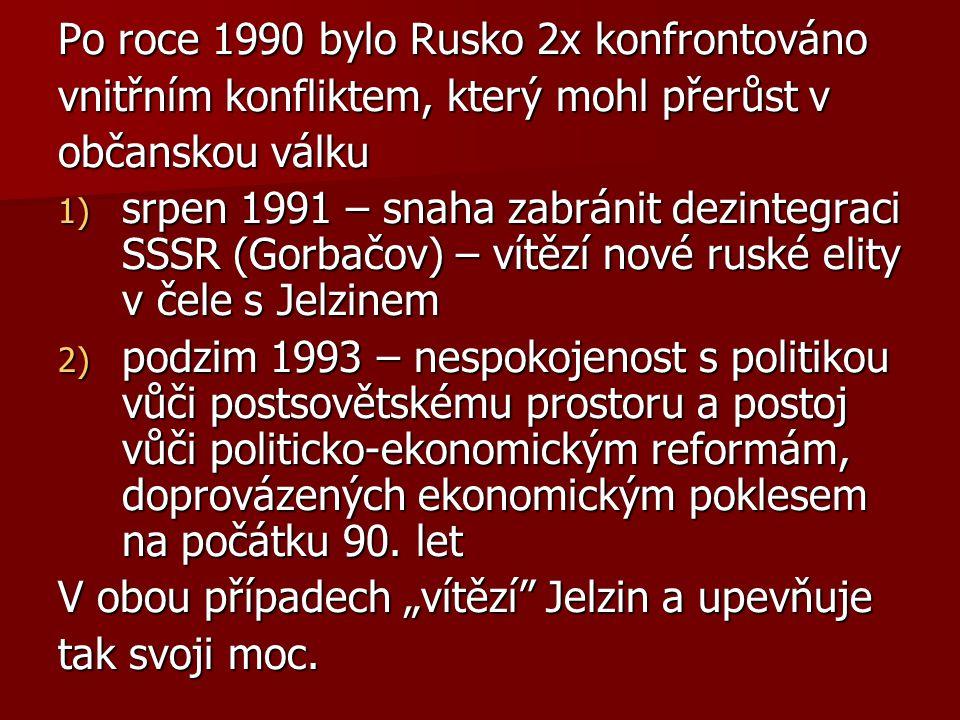 Po roce 1990 bylo Rusko 2x konfrontováno