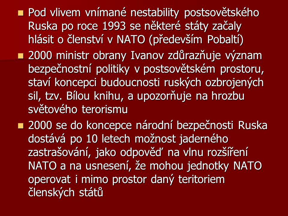 Pod vlivem vnímané nestability postsovětského Ruska po roce 1993 se některé státy začaly hlásit o členství v NATO (především Pobaltí)