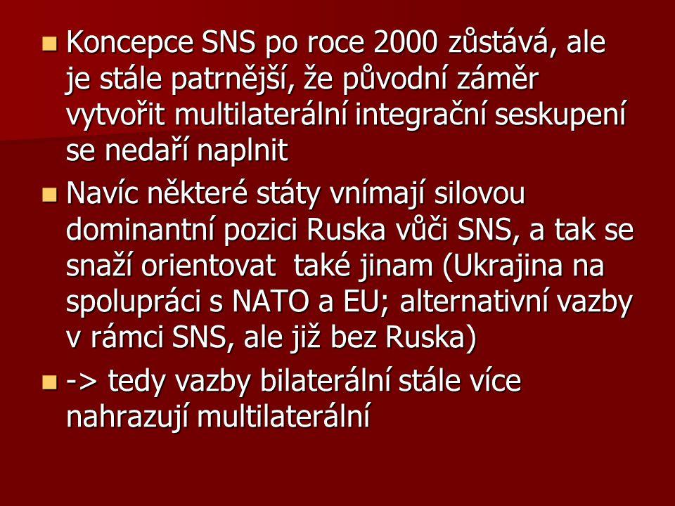 Koncepce SNS po roce 2000 zůstává, ale je stále patrnější, že původní záměr vytvořit multilaterální integrační seskupení se nedaří naplnit