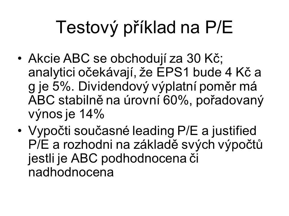 Testový příklad na P/E