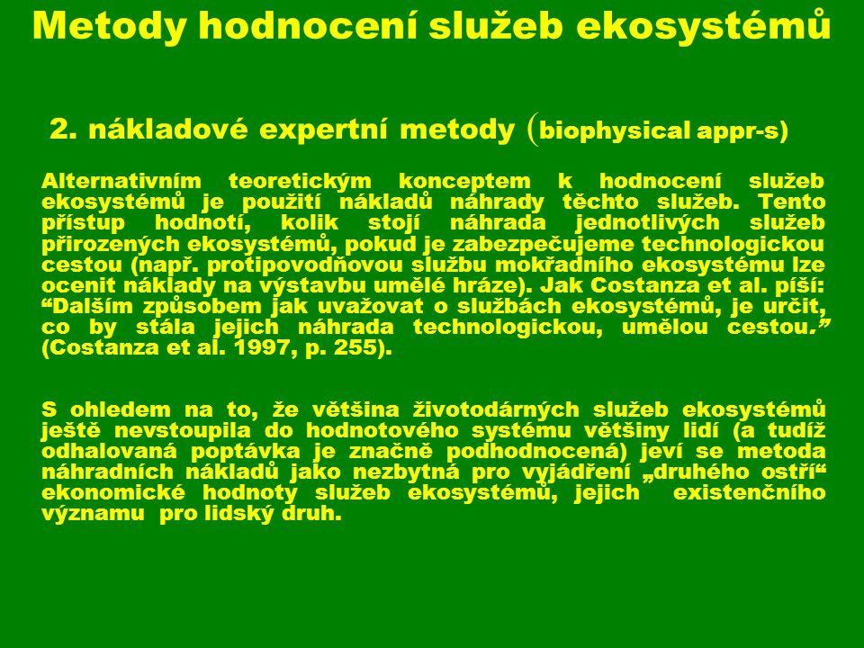 Metody hodnocení služeb ekosystémů
