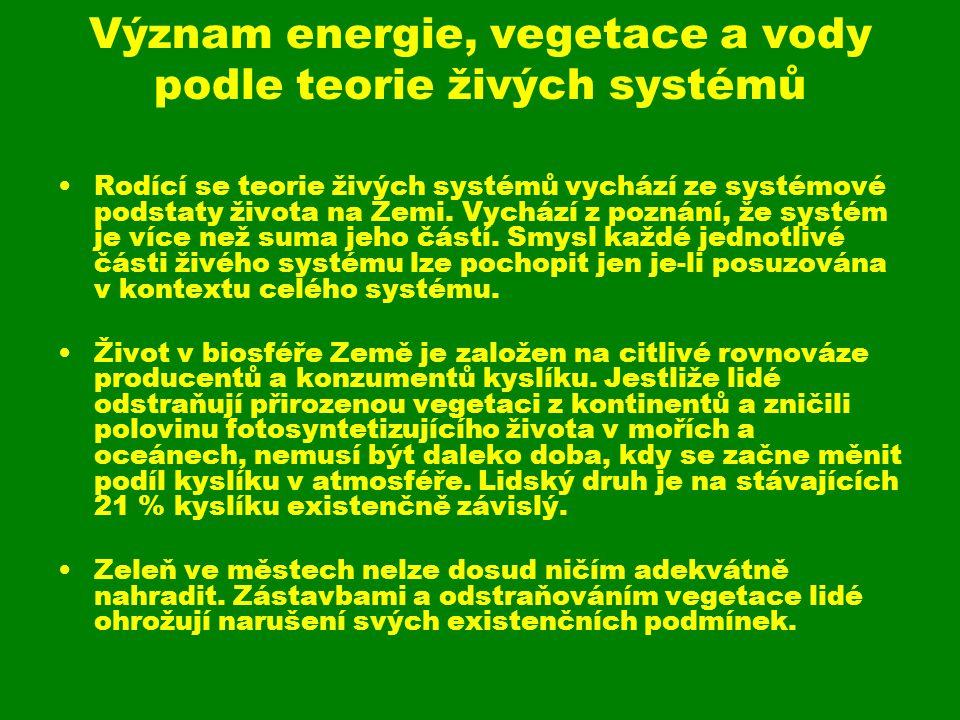 Význam energie, vegetace a vody podle teorie živých systémů
