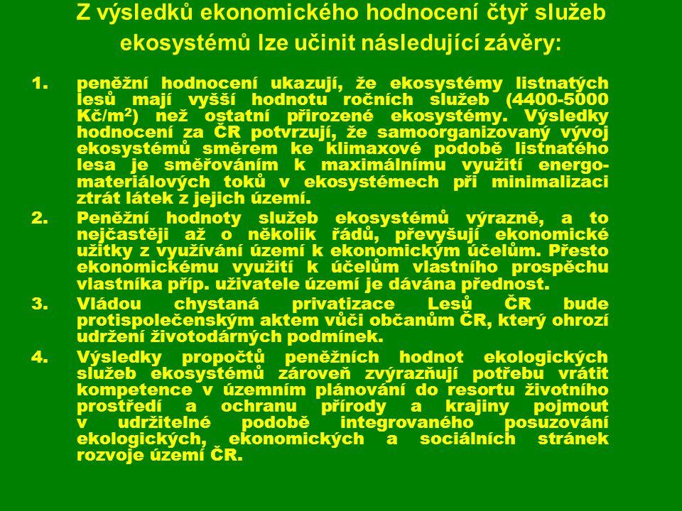 Z výsledků ekonomického hodnocení čtyř služeb ekosystémů lze učinit následující závěry: