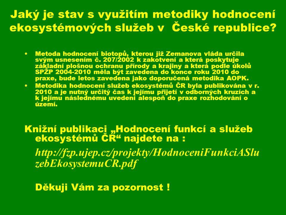 Jaký je stav s využitím metodiky hodnocení ekosystémových služeb v České republice