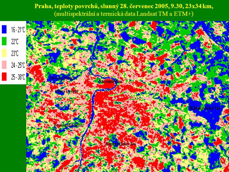 Praha, teploty povrchů, slunný 28. červenec 2005, 9