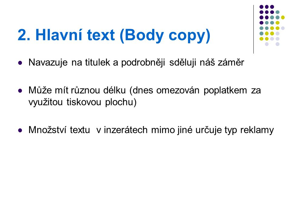 2. Hlavní text (Body copy)
