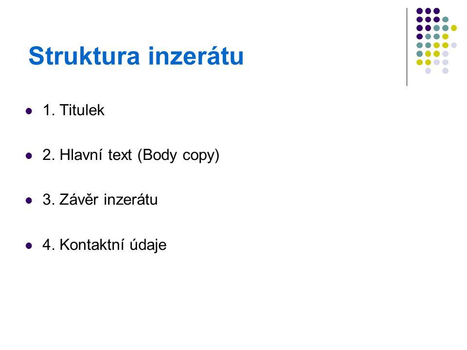 Struktura inzerátu 1. Titulek 2. Hlavní text (Body copy)