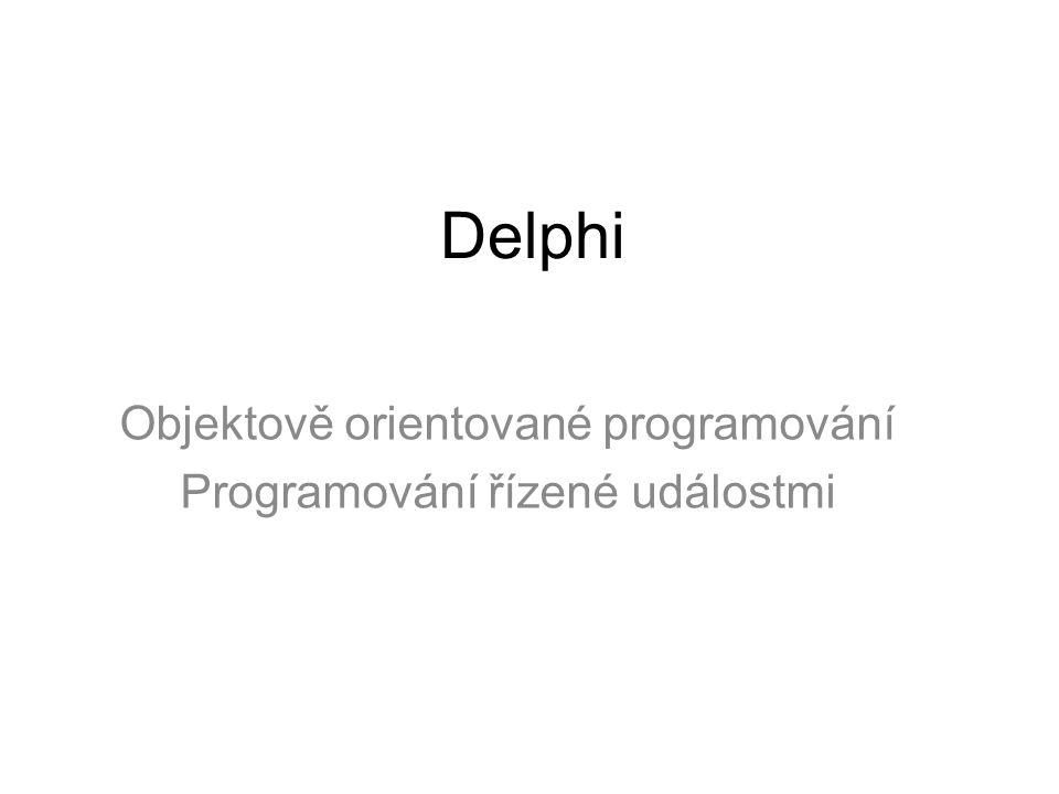 Objektově orientované programování Programování řízené událostmi