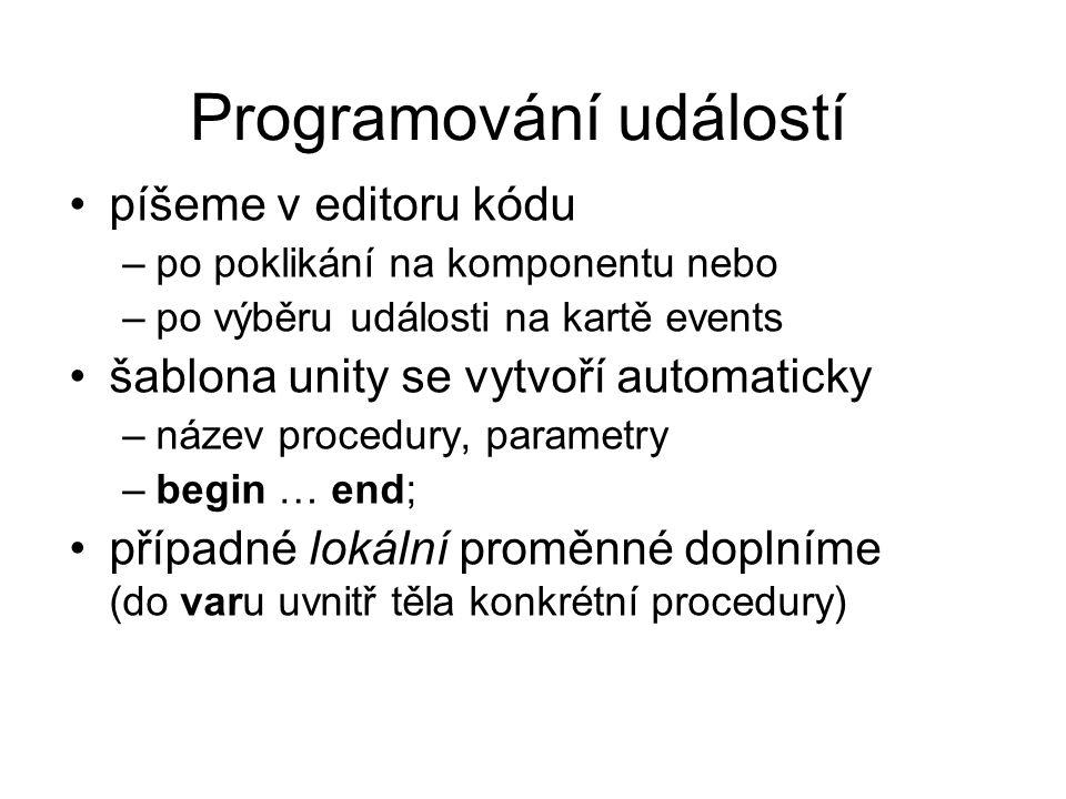 Programování událostí