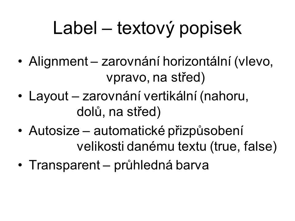 Label – textový popisek
