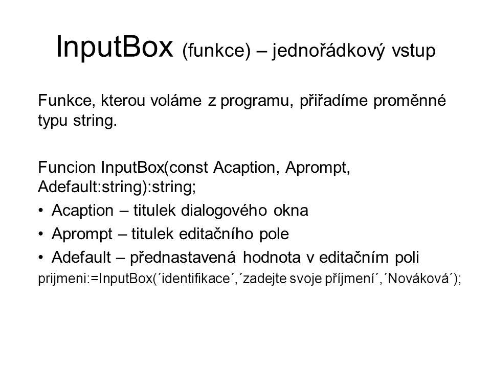 InputBox (funkce) – jednořádkový vstup