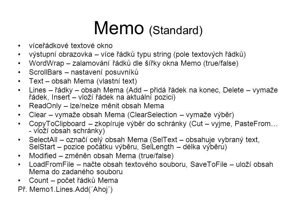 Memo (Standard) víceřádkové textové okno