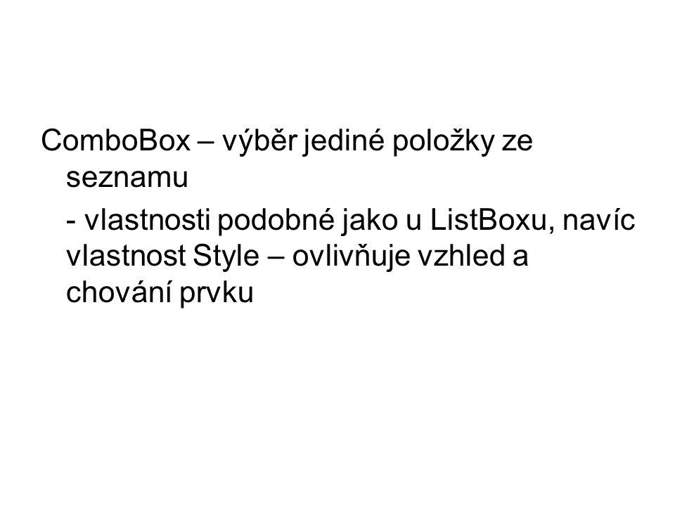 ComboBox – výběr jediné položky ze seznamu