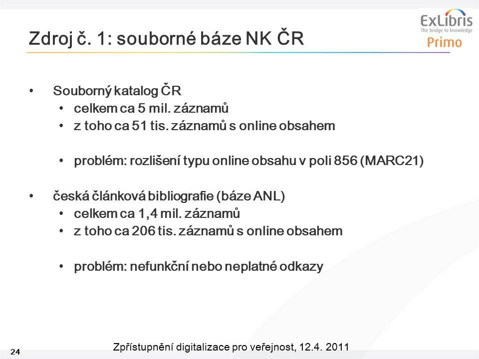 Zdroj č. 1: souborné báze NK ČR