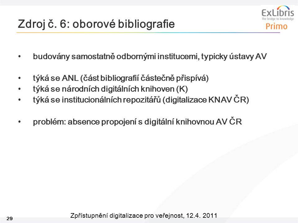 Zdroj č. 6: oborové bibliografie