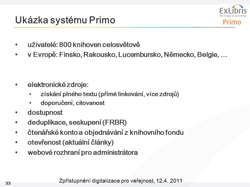 Ukázka systému Primo uživatelé: 800 knihoven celosvětově