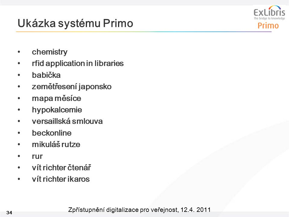 Ukázka systému Primo chemistry rfid application in libraries babička
