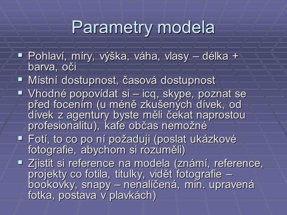 Parametry modela Pohlaví, míry, výška, váha, vlasy – délka + barva, oči. Místní dostupnost, časová dostupnost.