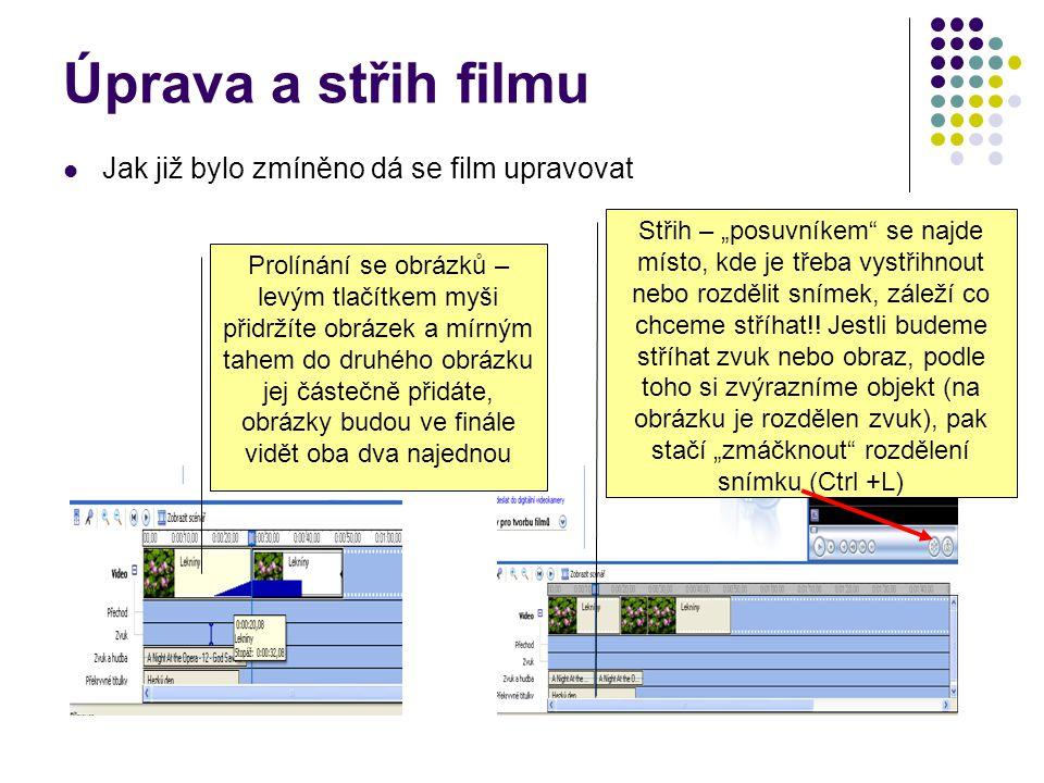 Úprava a střih filmu Jak již bylo zmíněno dá se film upravovat
