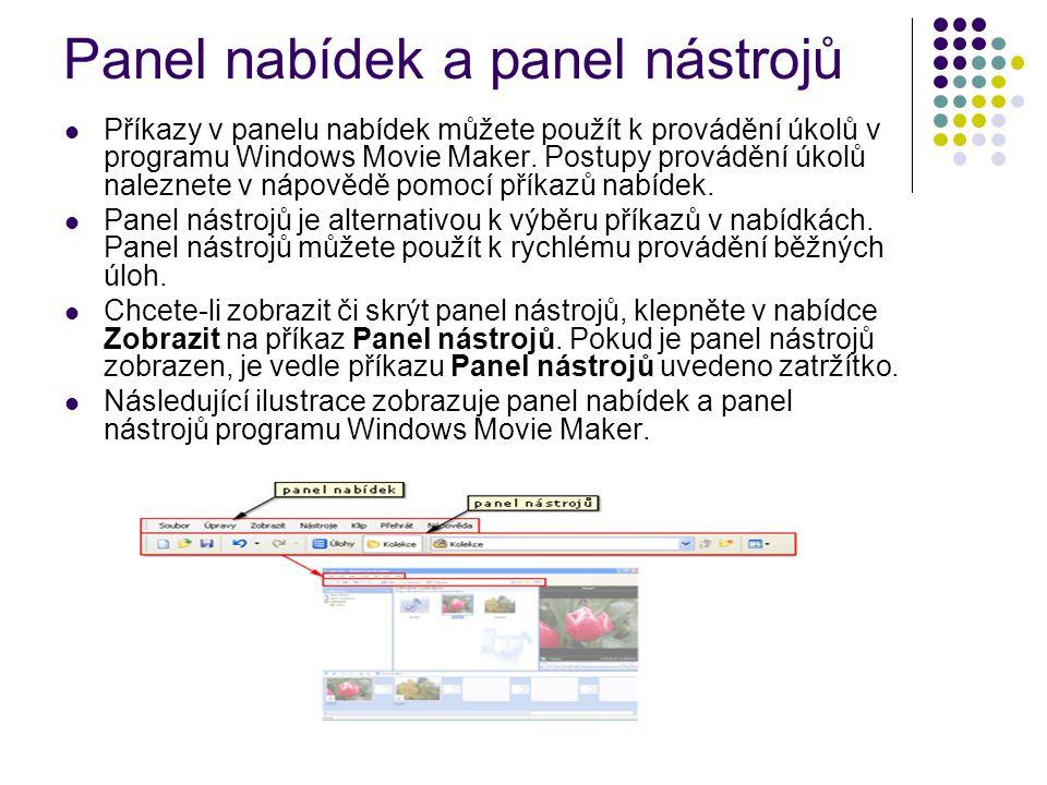 Panel nabídek a panel nástrojů