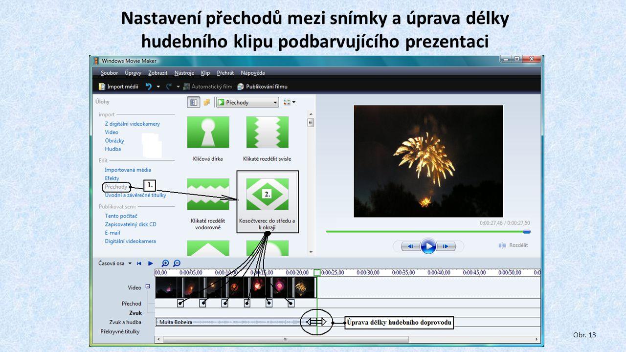 Nastavení přechodů mezi snímky a úprava délky hudebního klipu podbarvujícího prezentaci