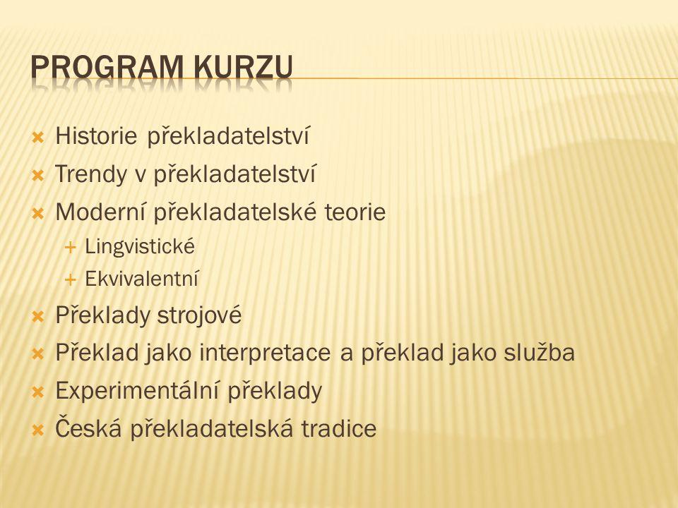 Program kurzu Historie překladatelství Trendy v překladatelství