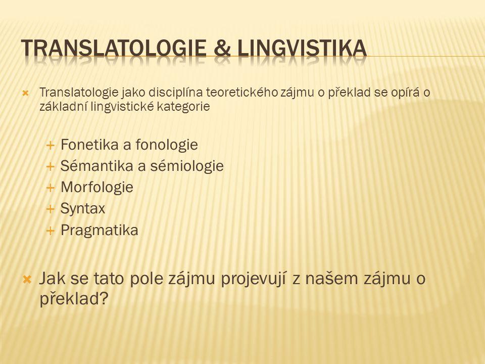 Translatologie & lingvistika