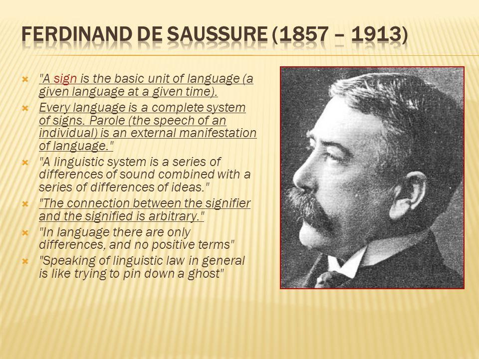 Ferdinand de Saussure (1857 – 1913)