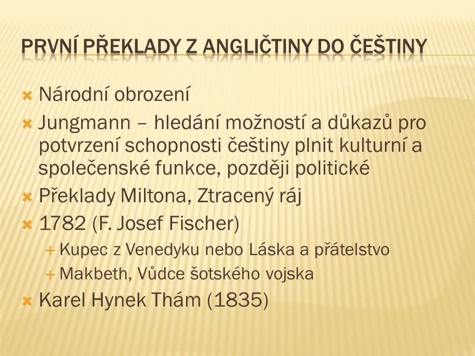 První překlady z angličtiny do češtiny