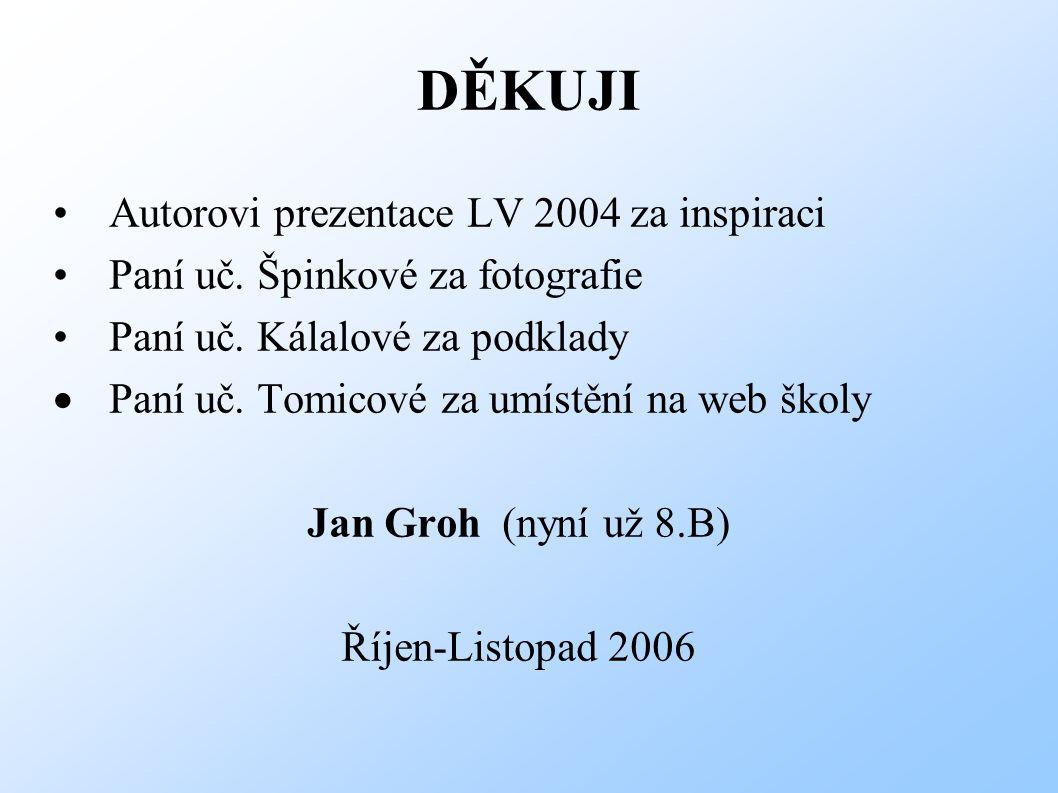 DĚKUJI Autorovi prezentace LV 2004 za inspiraci