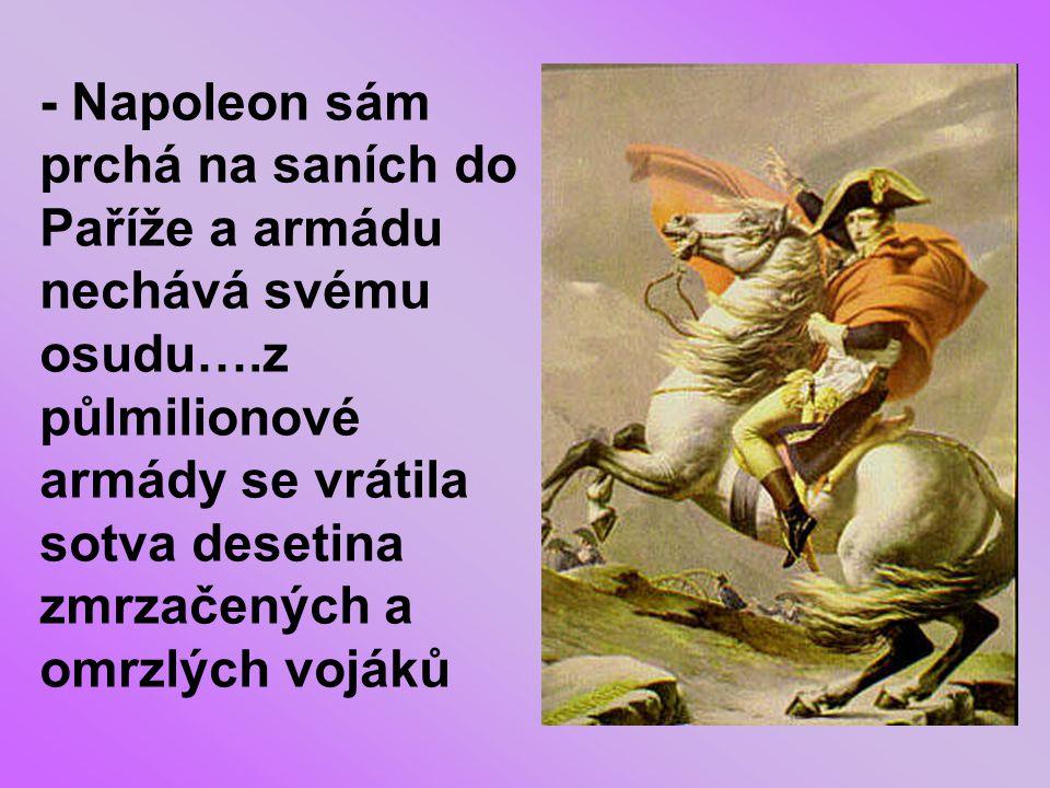 - Napoleon sám prchá na saních do Paříže a armádu nechává svému osudu…