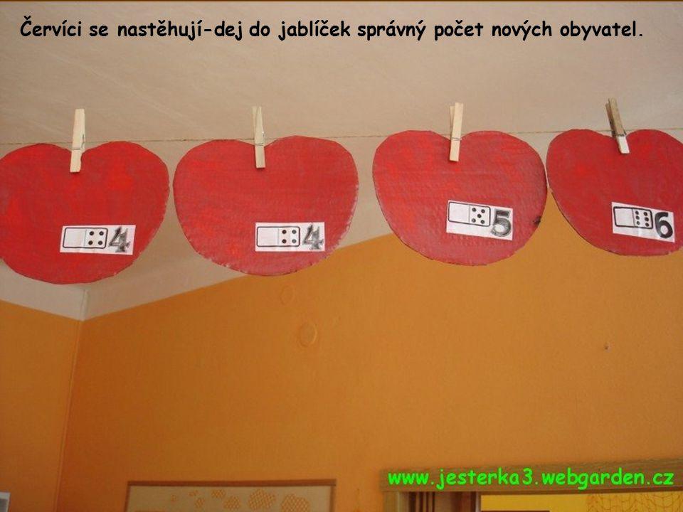 Červíci se nastěhují-dej do jablíček správný počet nových obyvatel.