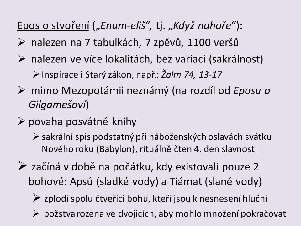 """Epos o stvoření (""""Enum-eliš , tj. """"Když nahoře ):"""