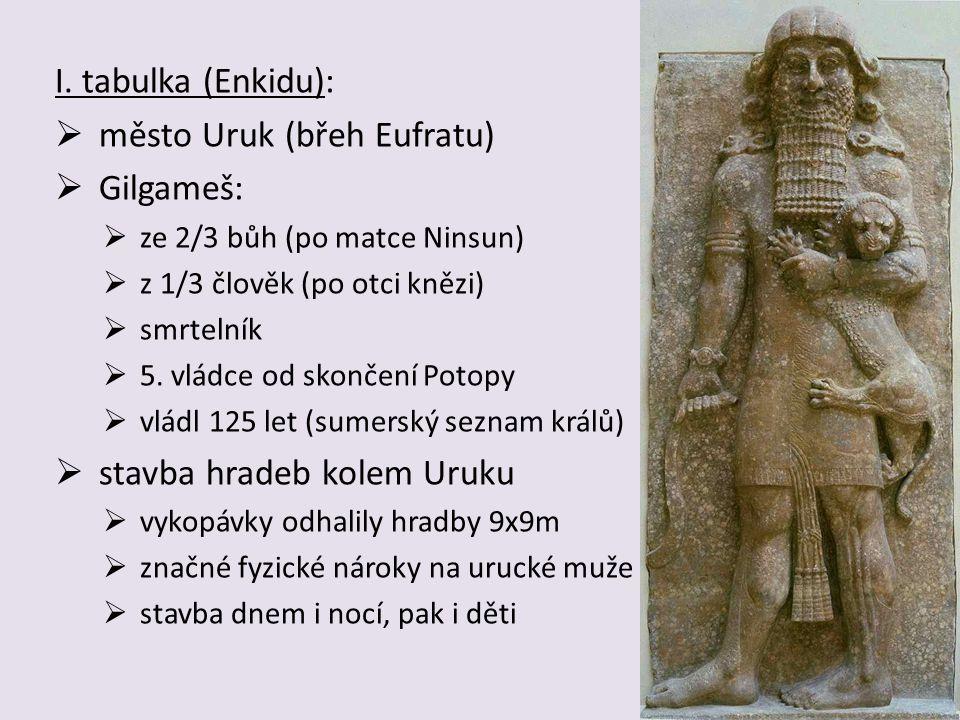 město Uruk (břeh Eufratu) Gilgameš: