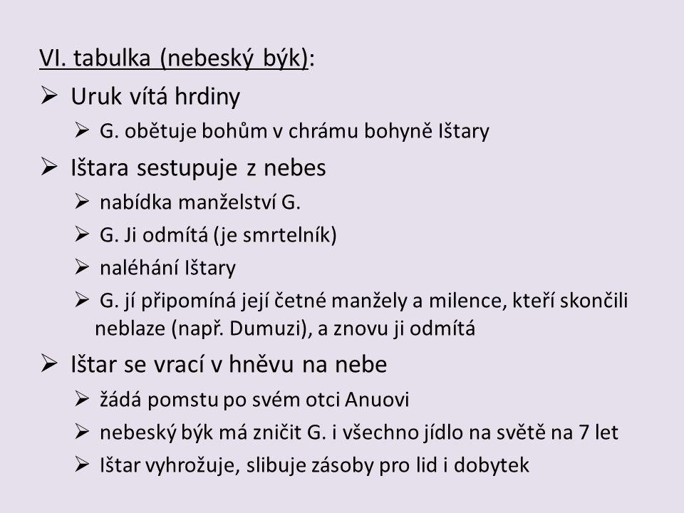 VI. tabulka (nebeský býk): Uruk vítá hrdiny Ištara sestupuje z nebes