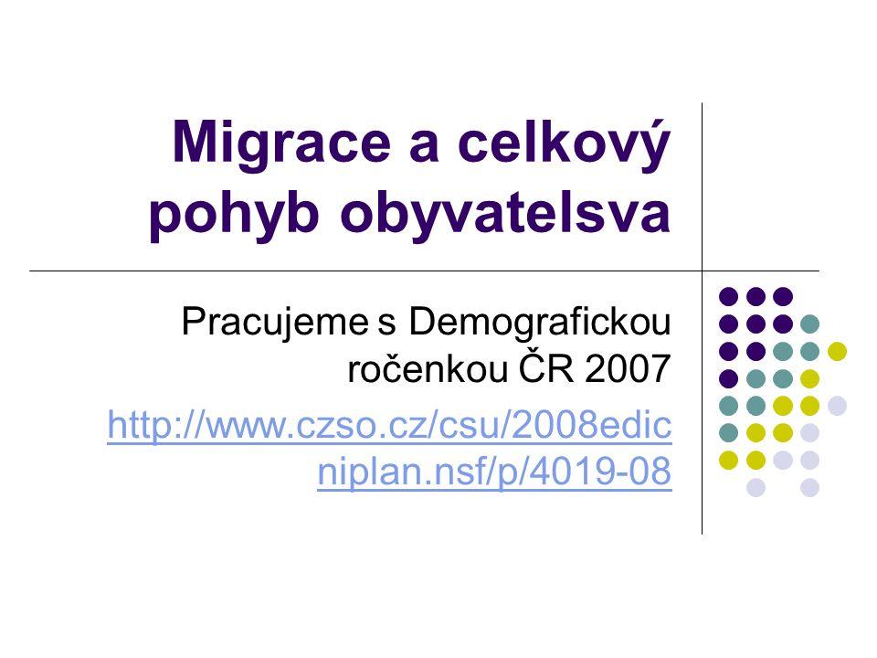 Migrace a celkový pohyb obyvatelsva