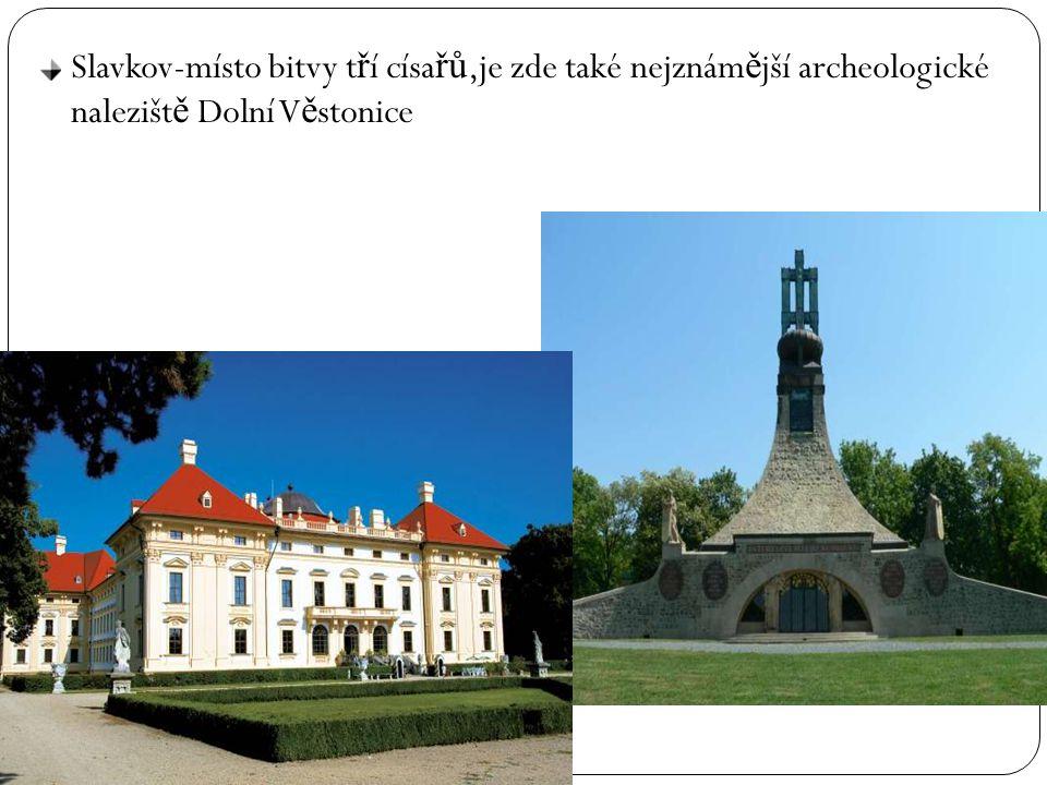 Slavkov-místo bitvy tří císařů,je zde také nejznámější archeologické naleziště Dolní Věstonice