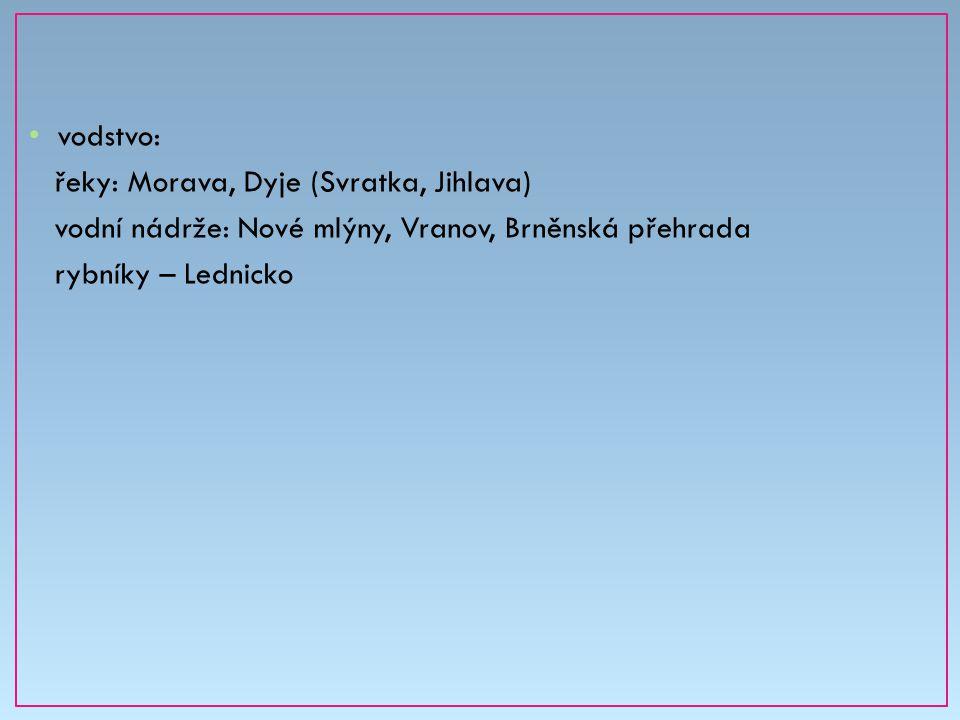 vodstvo: řeky: Morava, Dyje (Svratka, Jihlava) vodní nádrže: Nové mlýny, Vranov, Brněnská přehrada.