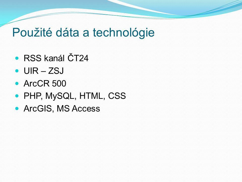 Použité dáta a technológie