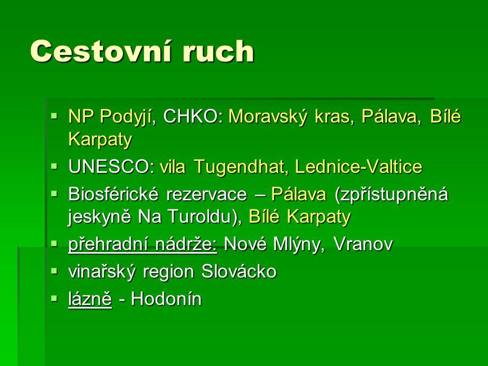 Cestovní ruch NP Podyjí, CHKO: Moravský kras, Pálava, Bílé Karpaty
