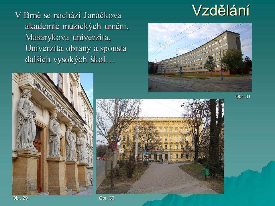 Vzdělání V Brně se nachází Janáčkova akademie múzických umění, Masarykova univerzita, Univerzita obrany a spousta dalších vysokých škol…