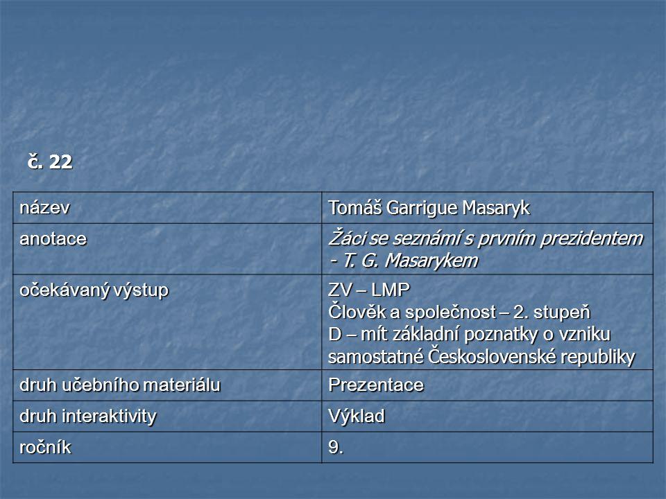 č. 22 název. Tomáš Garrigue Masaryk. anotace. Žáci se seznámí s prvním prezidentem - T. G. Masarykem.