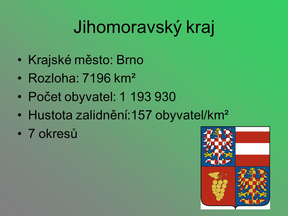 Jihomoravský kraj Krajské město: Brno Rozloha: 7196 km²