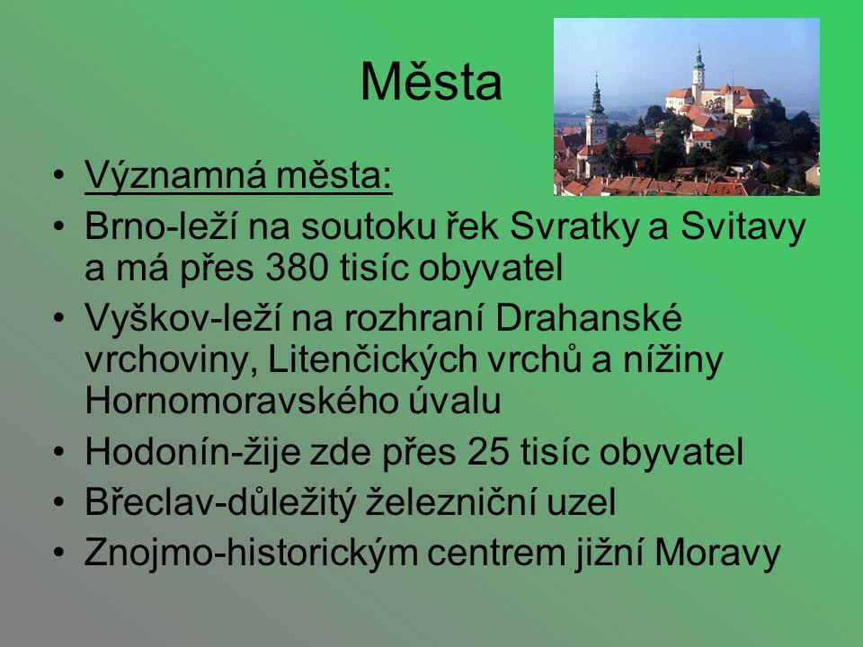 Města Významná města: Brno-leží na soutoku řek Svratky a Svitavy a má přes 380 tisíc obyvatel.