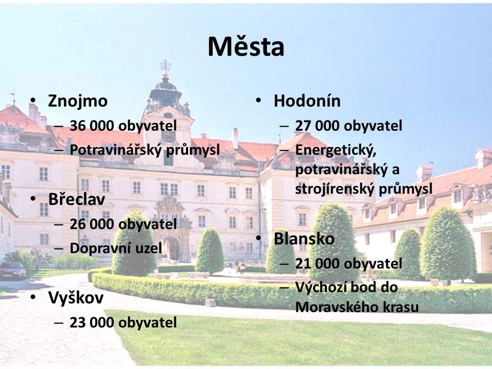 Města Znojmo Břeclav Vyškov Hodonín Blansko 36 000 obyvatel