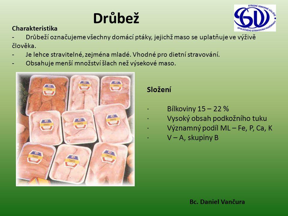Drůbež Složení · Bílkoviny 15 – 22 % · Vysoký obsah podkožního tuku