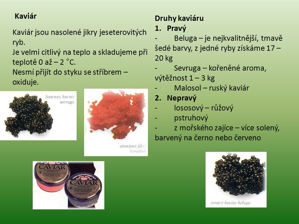 Kaviár Druhy kaviáru. 1. Pravý. - Beluga – je nejkvalitnější, tmavě šedé barvy, z jedné ryby získáme 17 – 20 kg.