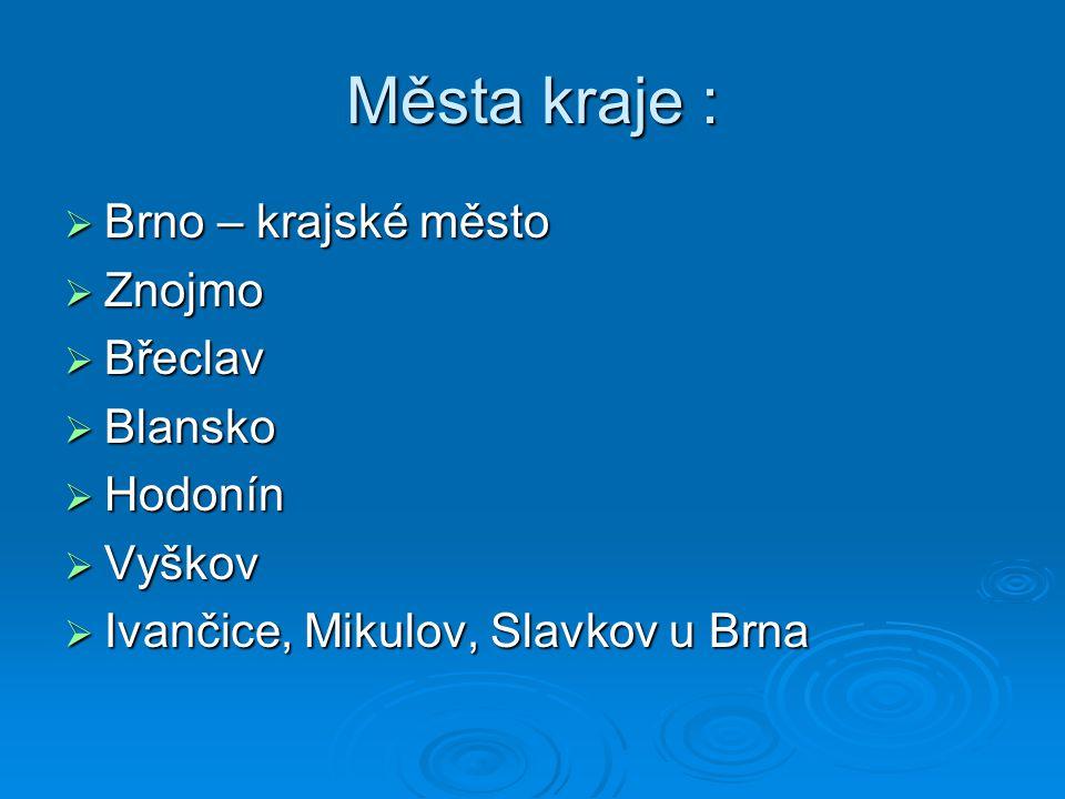 Města kraje : Brno – krajské město Znojmo Břeclav Blansko Hodonín